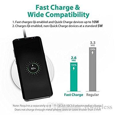 Cargador inalámbrico rápido Ultra Slim Qi Pad de carga inalámbrico estándar para Samsung Galaxy Note 8 S8 S7 Edge S6 Edge iPhone X 8 Plus