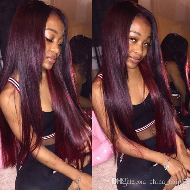 For Black Women 99j Wine Red Full Lace Human Hair Wigs Straight