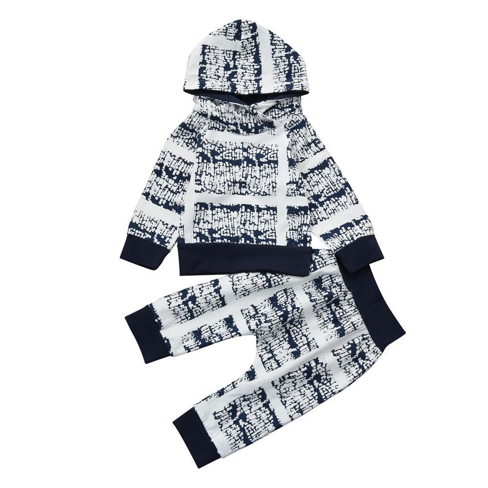 b2188d302c42c 2019 Newborn Baby Boy Clothes Infant Suit Striped Plaid Print  HoodiesSweatshirts+Pants Outfits Costume Set Cotton Tracksuit  Z1 From  Newestable