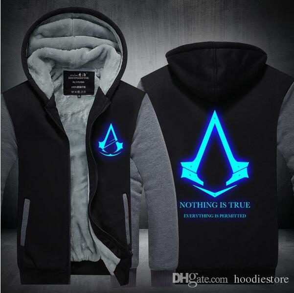 New Winter Fashion Luminous pattern Assassin Creed Hoodie Zipper Sweatshirt Thicken Cool Hoodies Men USA EU size Plus size