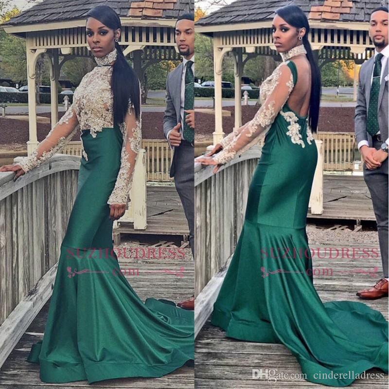b871900813 Emerald Green Long Sleeves Evening Dresses 2018 High Neck Mermaid See  Through Sweep Train Ruffles Low Cut Backless Arabic Prom Gowns Top Evening  Dresses ...
