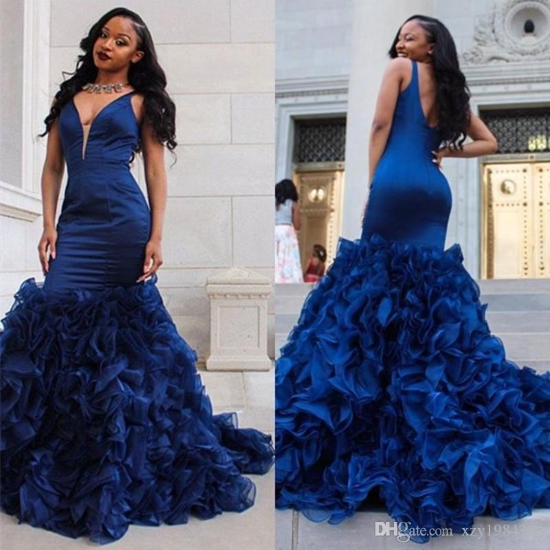 38efa75f098e Ruffles Tiered Train Prom Dresses Royal Blue Deep V Neck Sleeveless Mermaid  Formal Party Dresses Custom Made Sexy African Satin Prom Dress Consignment  Prom ...