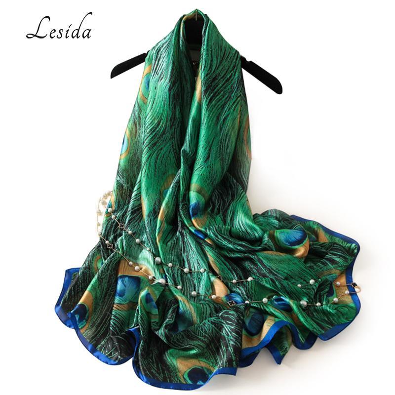 d484220f556a Acheter LESIDA Marque De Luxe Femmes Vert De Soie Châle De Paon De Paon  Imprimé Plumes Écharpes Grande Taille Echarpes Femme Cachecol Foulards 180    90CM ...