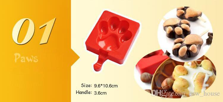 Creative Silicone Homemade Ice cream Popsicle Mold Cartoon DIY Ice Cream Cake Mold Popsicle Sticks Mould