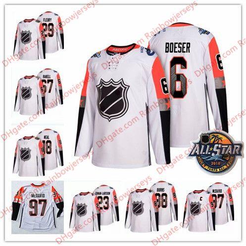 4dd3b8305 2019 Custom 2018 All Star Game Hockey Jerseys #6 Brock Boeser 18 James Neal  29 Fleury 97 McDavid Gaudreau Burns Any Name # White Pacific Division From  ...