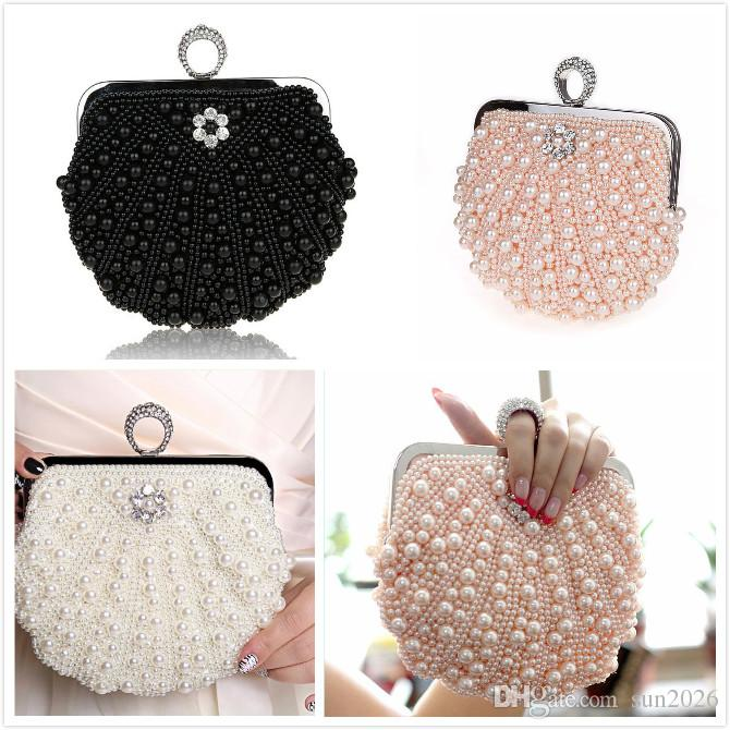 Beautiful Beaded Women Evening Bags Diamonds Finger Rings Small Purse Day Clutches Handbags Silver/Gold/Black Pearl Wedding Bags