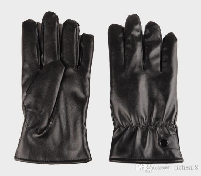 waterproof Full finger Motorcycle Cycling Mittens Solid PU Leather Luxurious Forefinger Touch Screen Gloves black