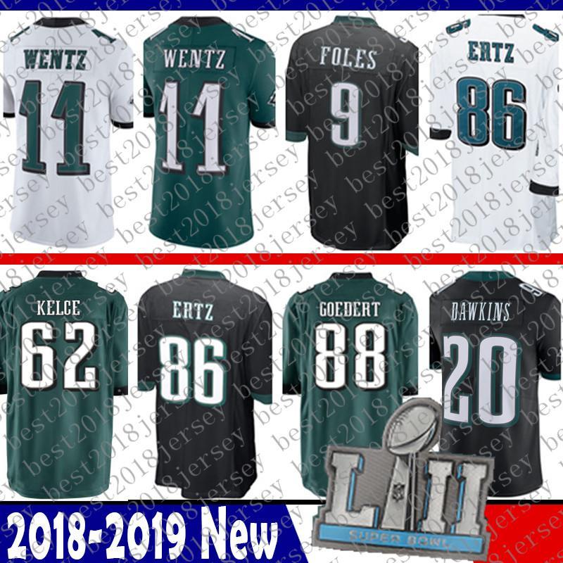 Cheap 11 Carson Wentz Jersey Philadelphia 62 Jason Kelce Eagles 88 Dallas  Goedert 86 Zach Ertz 9 Nick Foles 20 Brian Dawkins 91 Cox Jeffery 3900bfc99