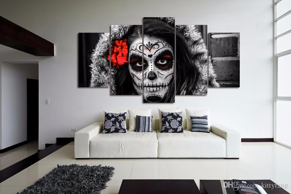 Framed HD Printed sugar skull day of dead Face Canvas Painting Wall Art Prints Home Decor For Linving Room Art Picture