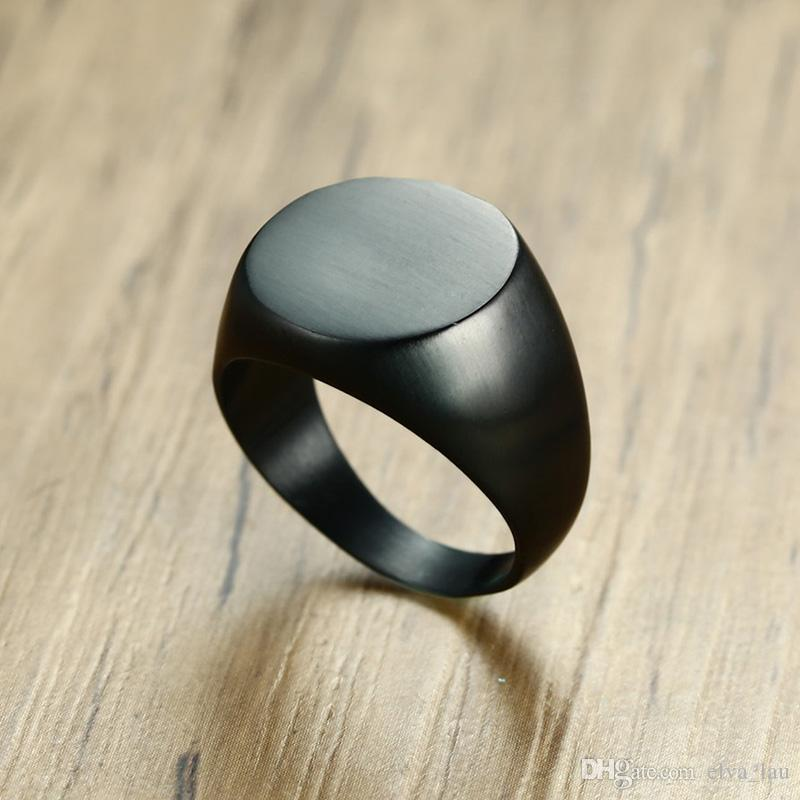 Rock Punk Big Flat Rings for Men Stainless Steel Cocktail Ring Male Jewelry Matte Finished US Size 9 10 11 12