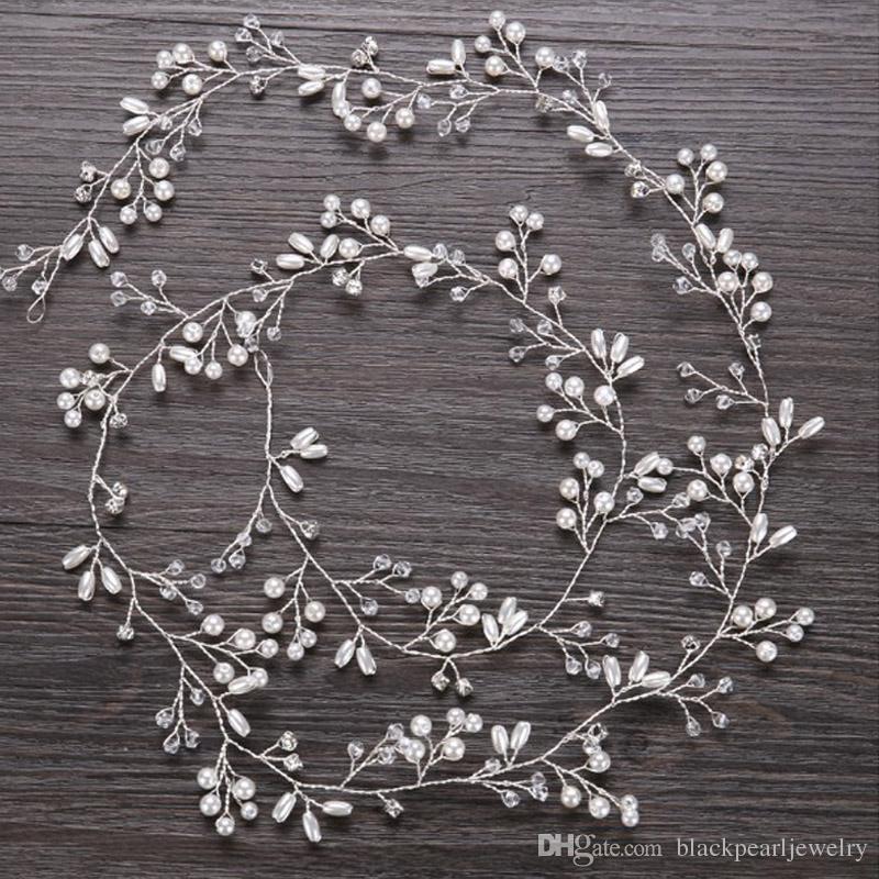 Acessórios de cabelo de Casamento de cristal de luxo 50 cm Headband Simulado Pérola cabelo de noiva videira Hairbands Coroa Headpiece Tiara de Noiva Jóias