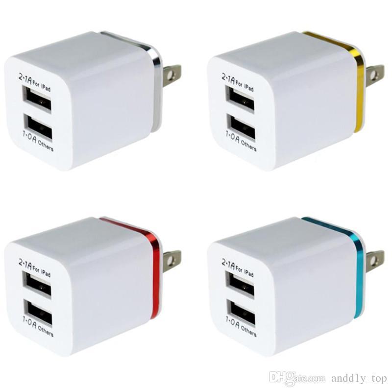 المزدوج USB الجدار شاحن لسامسونج S8 ملاحظة 8 جدار شاحن الاتحاد الأوروبي قابس 5V 2.1A المعادن السفر محول الولايات المتحدة AC محول الطاقة