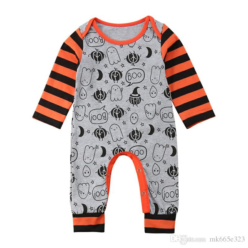 9fe82a374eeb 2019 Infant Rompers Jumpsuit Halloween Ghost 100% Soft Cotton Long Sleeves  Clothes For Children Baby Boys Girls Clothing 0 24M From Mk665e323
