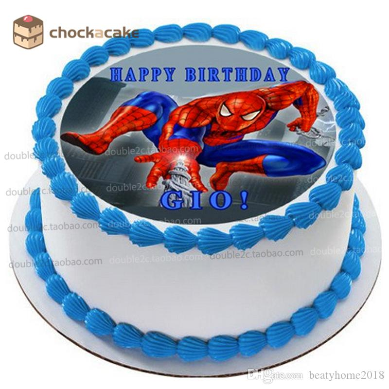 2019 Spider Man Birthday Cake Topper For Baby Boy Wafer Paper With NameCartoon Edible Decorating From Beatyhome2018 704