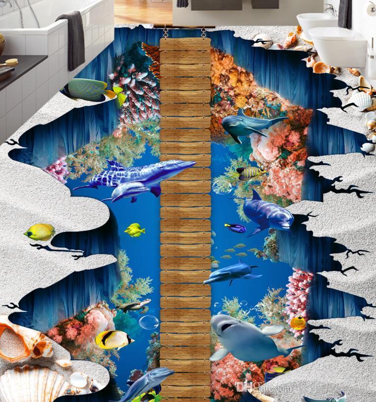 3D Flooring Self adhesive Wallpaper Falls Dolphin Bridge 3D Wallpaper Murals 3D Flooring Home Decor Living Room