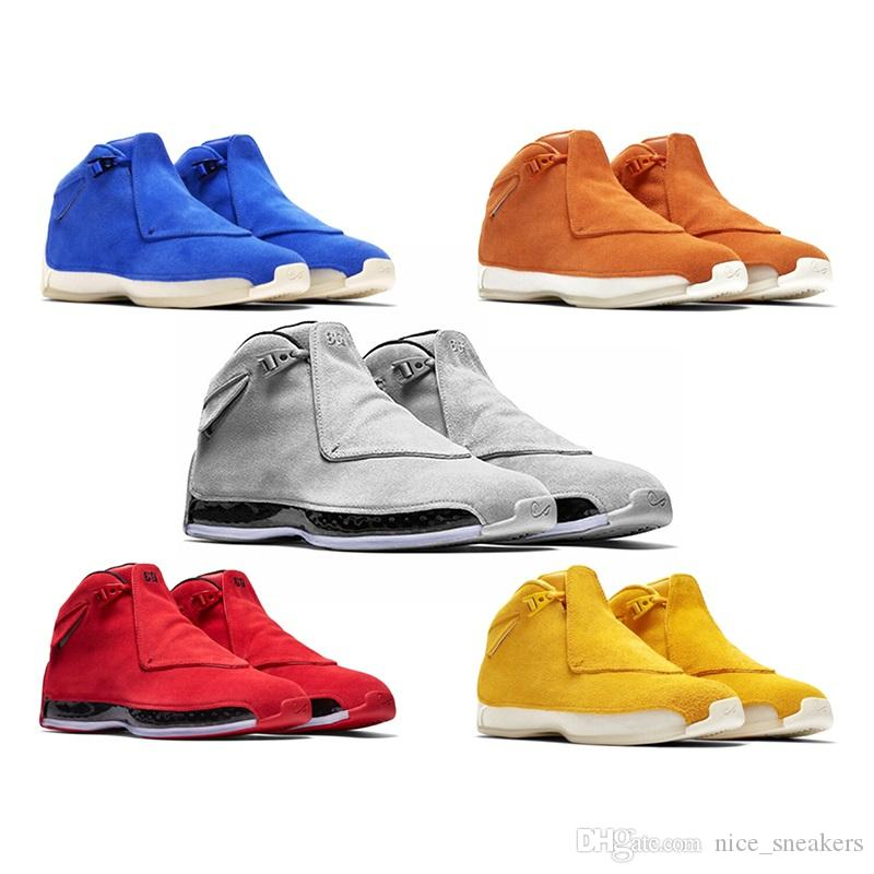06f84698f9cf56 Men 18 18s Toro Basketball Sport Shoes Red Suede Yellow Orange Blue Royal  Cool Grey OG CDP Trainer Athletic Sneakers 41 47 Shoes Kids Mens Basketball  Shoes ...