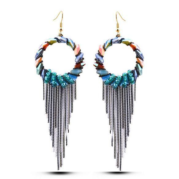 Bohemia Sea Beach Luxury Handmade Crystal Beads Circle Tassel Bride Wedding Patry Women Stud Earrings High Quality Fine Jewelry Accessories