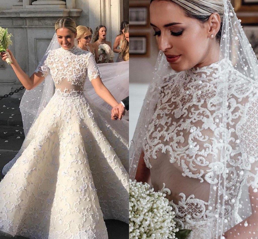 Vintage High Neck Full Lace Wedding Dresses 2019 Illusion Belt Short Sleeves Appliques Pearl Princess Brides Look Chapel Train Custom Made