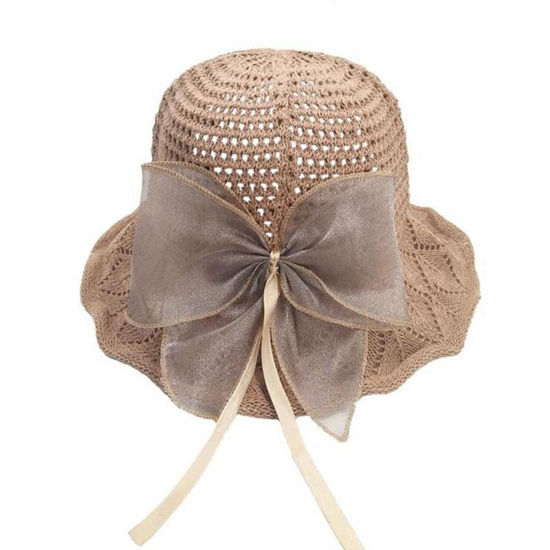 e1aa4df0121 New Women Summer Beach Hat Sun Cap Ladies Sweet Big Bow Panama Hats ...