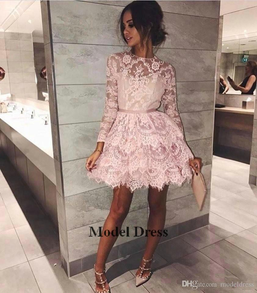 2018 Pink Long Sleeve Lace Homecoming Dresses A Line Cute Sheer Jewel Neck Mini Short Prom Dresses for Party Robes de cocktail