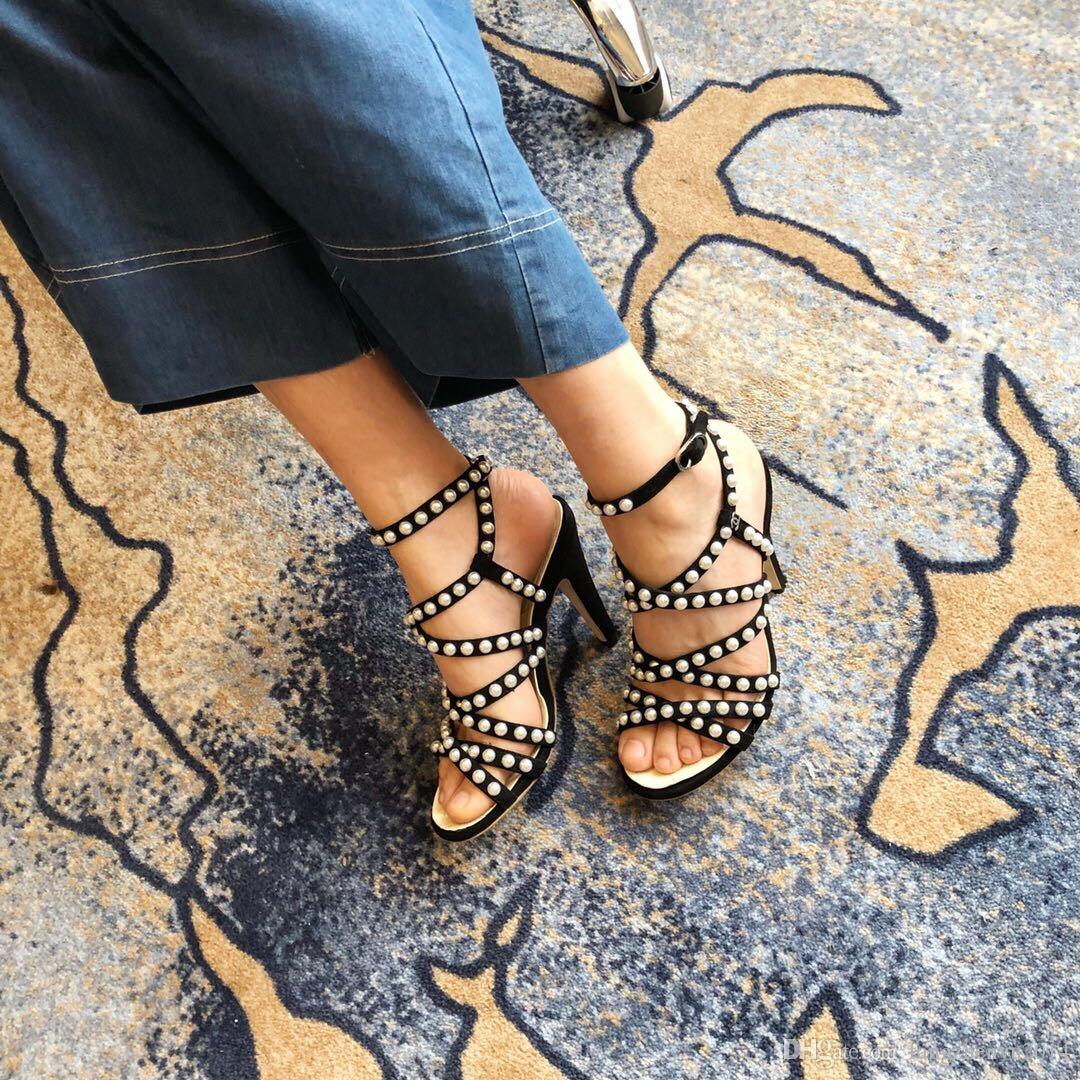 04d78d6ccb5 Luxury Designer Gladiators Summer Shoes High Heels 2018 Sandals Pearl  Decoration Fashion Buckles Woman Pumps Sandals Luxury High Heels Pearl  Online with ...