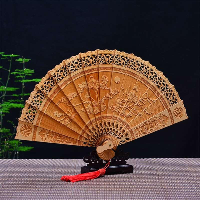 Ya-bai wood carving mandarin duck and water folding fan wedding gift souvenir wooden crafts decoration