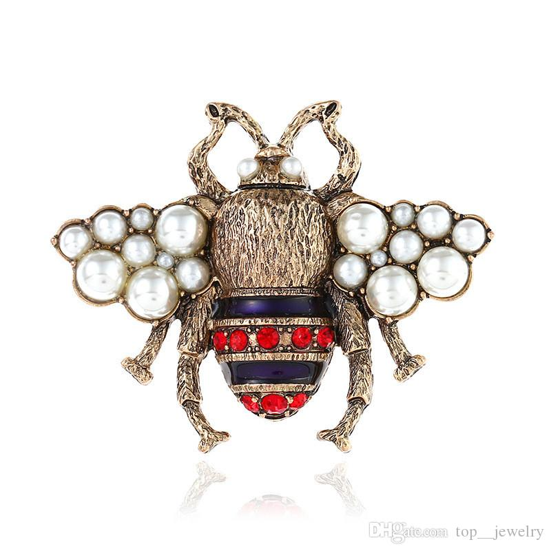 Cute Crystal Clothing Brooch Retro Bee Pearl Pin Alloy Gemstone Brooch Europe United States Fashion Quality Jewelry Women Gifts 2 Colors