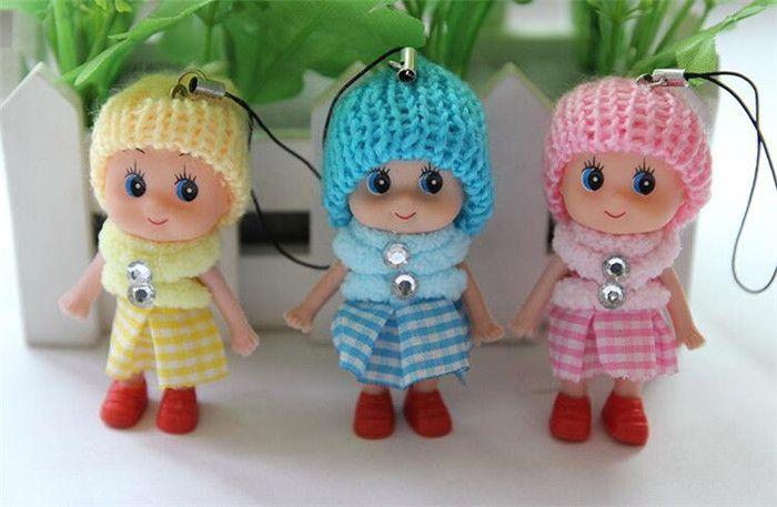 Cute Kids Toys Soft Interactive Baby Dolls Toy Key Chain Mini Doll Girls Key Ring Key Holder Phone Straps J084