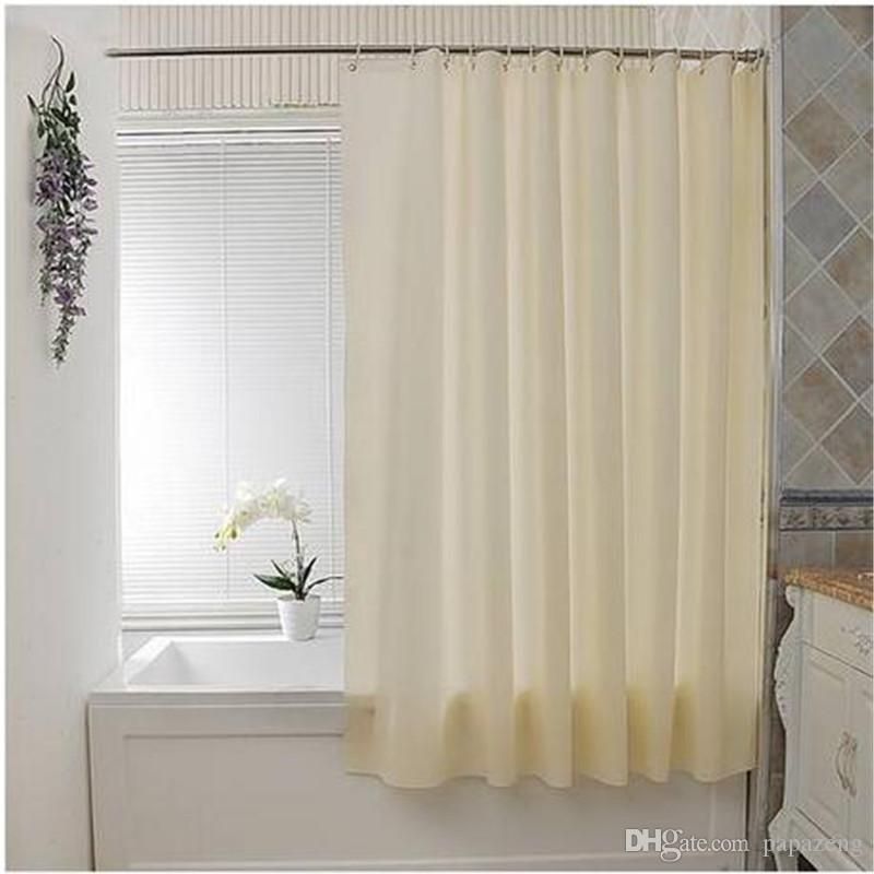 2019 Wholesales Plain Waterproof PEVA Bathroom Shower Curtain 12 Button Holes Beige 135 180cm Curtains Accessories From Papazeng