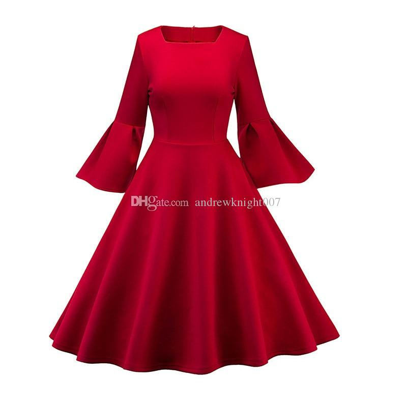 huge discount 8f207 a59ab Donna vintage anni 50 anni 60 abito primavera abito rosso manica lunga a  pipistrello ragazze eleganti Ladeis estate altalena nuovo abiti vintage  retrò ...