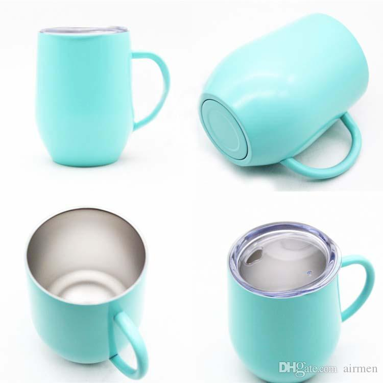 9oz mugs cups stemless wine glass double wall stainless steel vacuum insulated mug with lid and handle drinking coffee tea