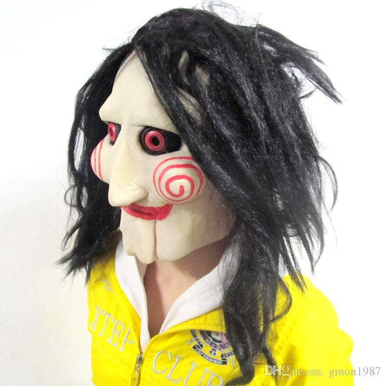 Movie Saw Chainsaw massacre Jigsaw Puppet Masks Latex Creepy Halloween gift full mask Scary prop unisex party cosplay supplies