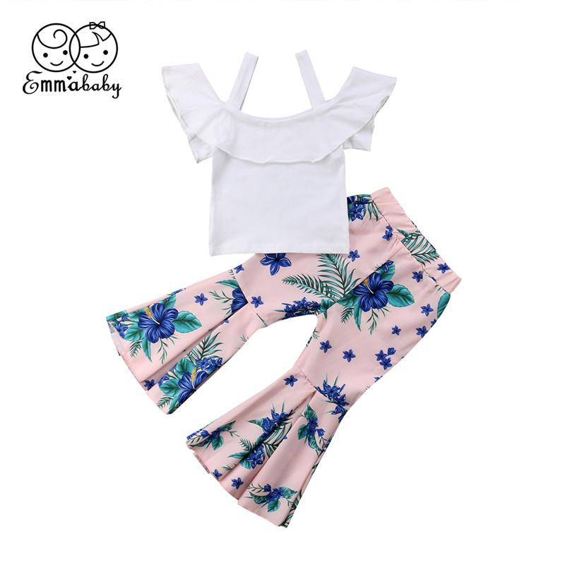 c81b78d74 Emmababy 1-6T Kids fashion Baby Girl Clothes sets girls white Off Shoulder  T-shirt+Floral flare pants 2PCS Outfits clothing Set