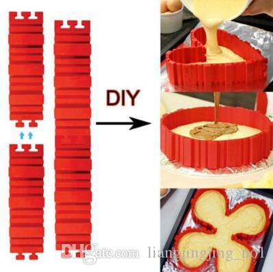 4 pz / set torta cuocere serpente stampi da cucina torta stampo fai da te  torta al silicone di cottura piazza forma rotonda stampo magia bakeware ...