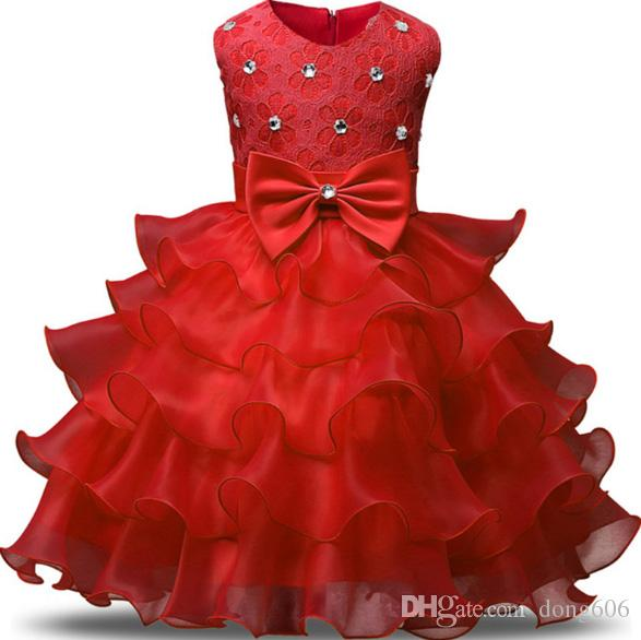 2018 Baby Kids Girls Bowtie Wedding Pageant Formal Evening Party Red Prom Gown Dress
