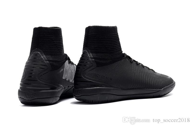 2018 neue Verkauf Full Black Mercurial Superfly V IC Fußballschuh Original Herren Fußballschuhe Flache Hohe Ankle Indoor Fußballschuhe