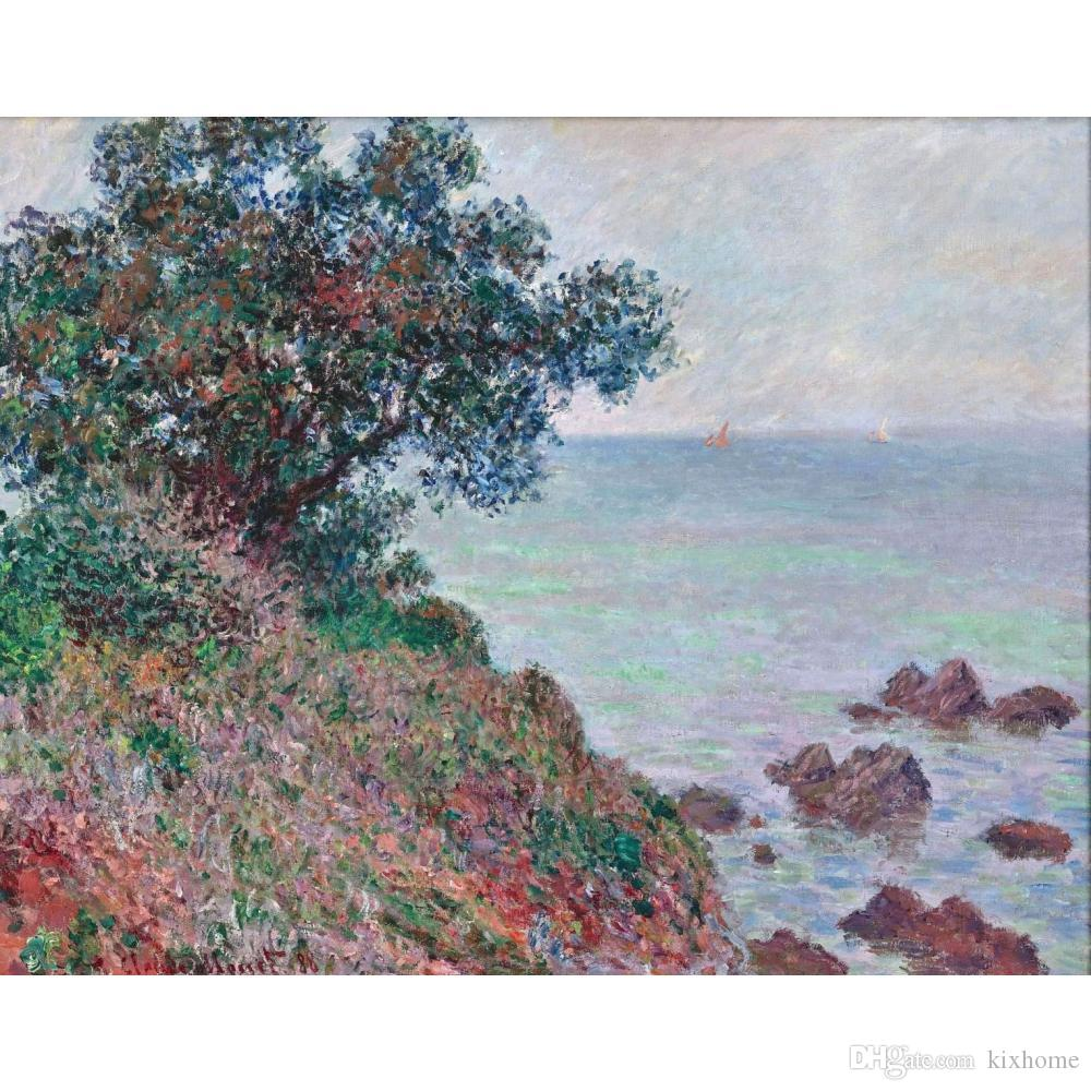 Hand painted Claude Monet oil paintings canvas Mediteranian Coast, Grey Day modern art Landscape wall decor