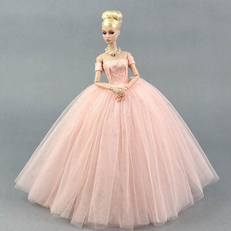 Pink Wedding Dress For Barbie Doll Princess Evening Party Clothes ...