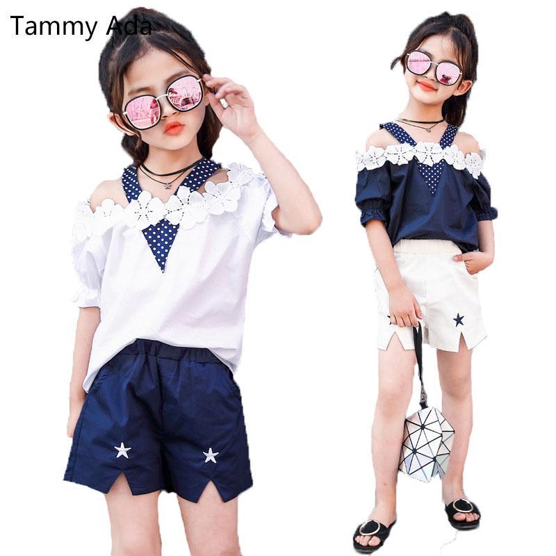 7fe1440e6094 2019 Tammy Ada Children Clothing Sets For Girls Off Shoulder Flower ...