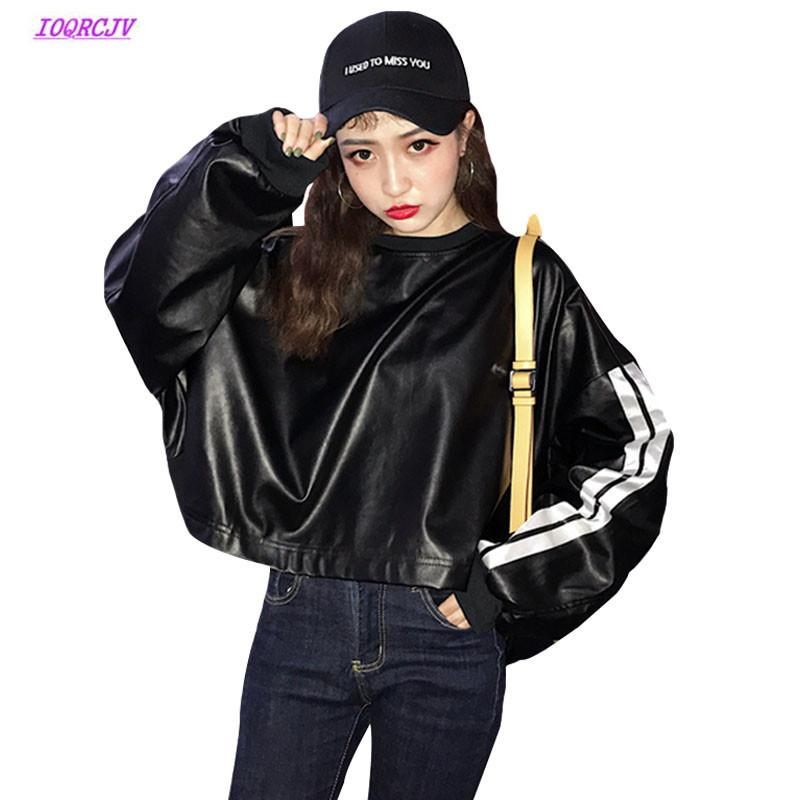 66caae5934f 2019 Autumn Women Faux Leather Jacket Bat Sleeve Side Zipper Short Washed Pu  Jacket Student Casual Large Size Pullover Coat Tops W223 From Bclothes002