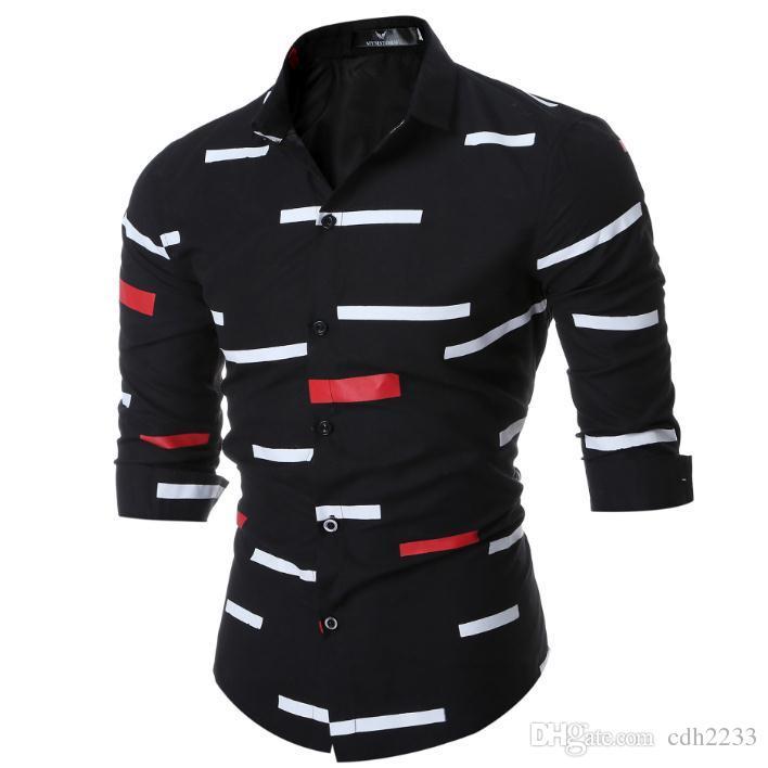 Nueva Europa y los Estados Unidos específicamente para hombres camisa de manga larga para hombres Camisa de manga larga con estampado geométrico juvenil de ocio para jóvenes