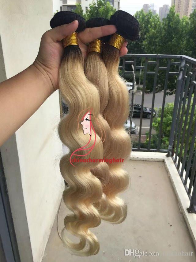 عنصر جديد! الماليزية أومبير الشعر 1b / البلاتين شقراء شعر الجسم البشري موجة نسج رخيصة 613 أومبير الشعر مختلطة 10 '' - 26 '