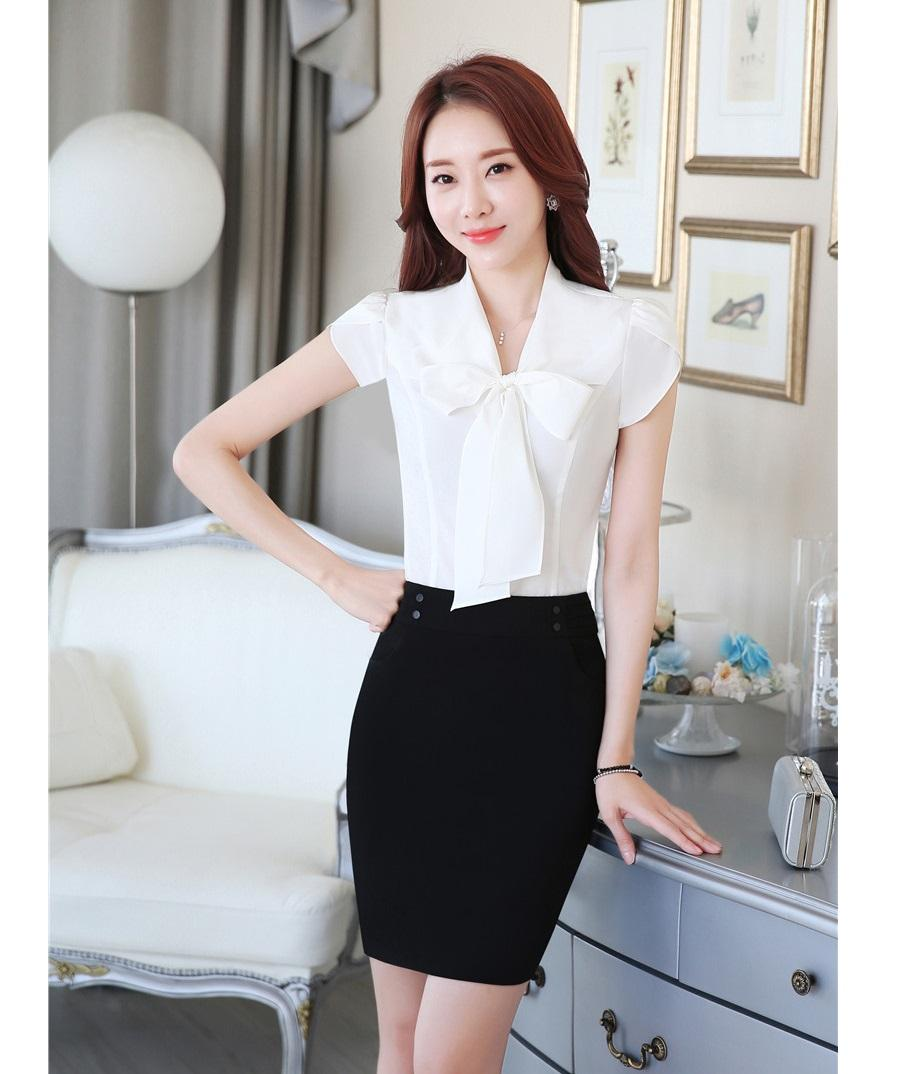 Summer Fashion Office Uniform Designs Women Business Suits With Skirt And Top Sets Formal Ladies Blouses Shirts