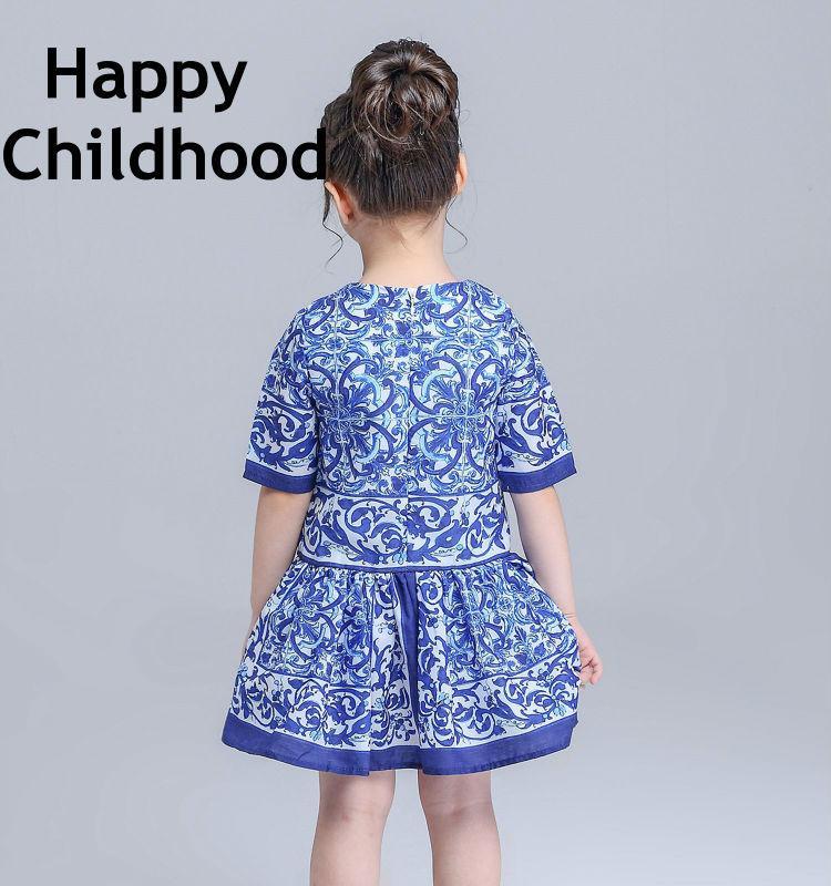 2016 sommer / frühling marke blau mädchen kleider 3-13y kinder kleider für mädchen 1 stück kurzen ärmeln blumenmädchen kleidung majolika drucken
