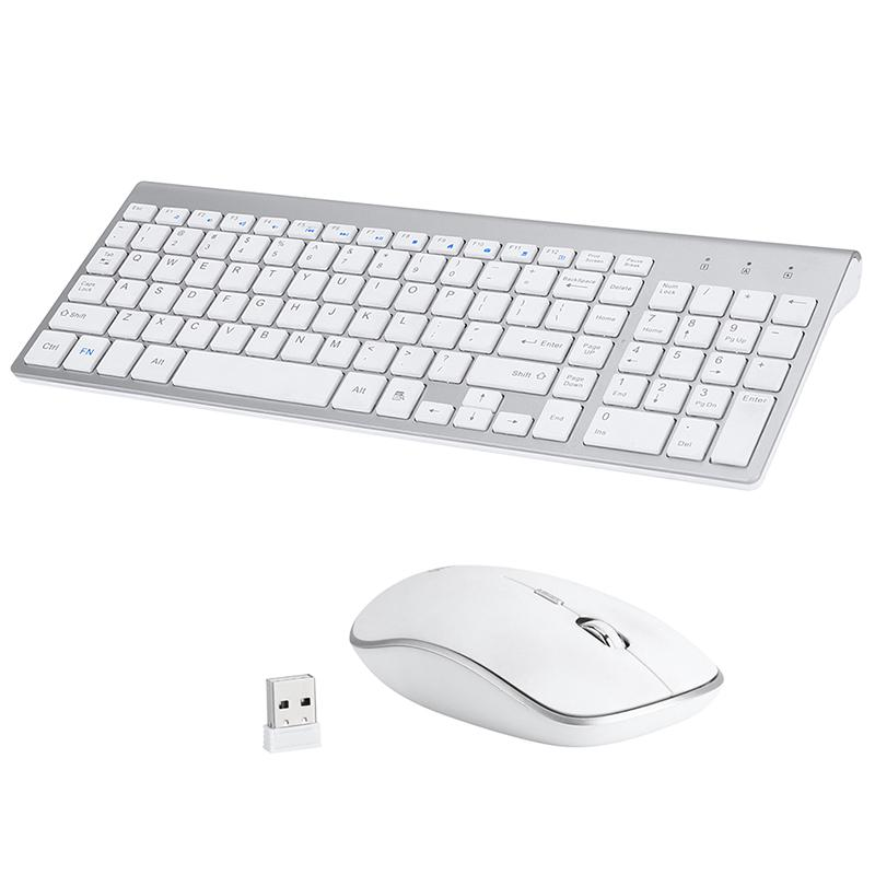 Ultra-thin Silent 2.4G Wireless Mini Portable Keyboard Mouse Set Mice Combo Kit for Computer Laptop Desktop