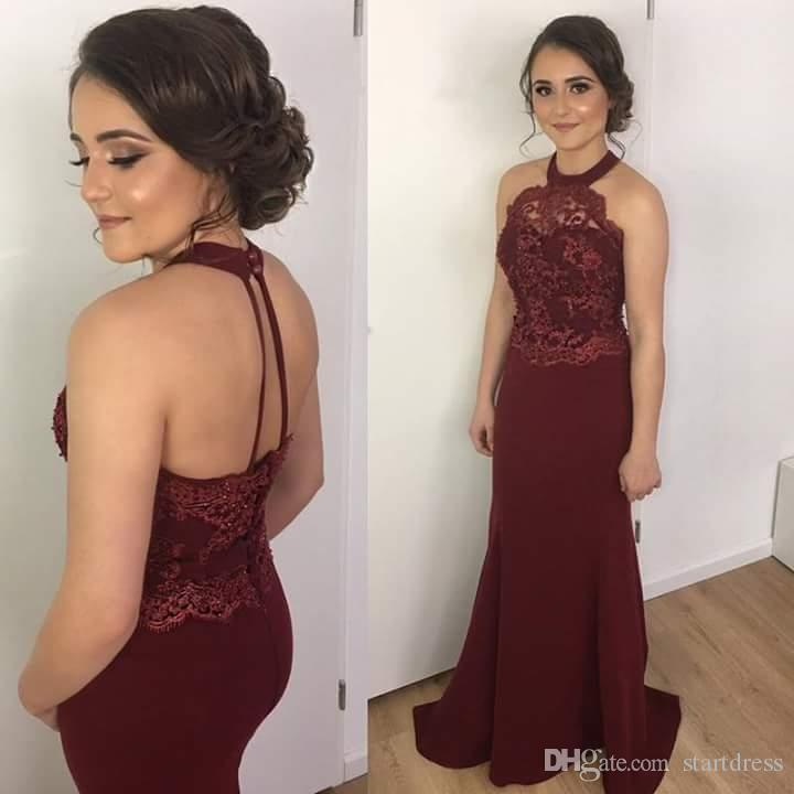 Burgundy Elegant Mermaid Prom Dress 2018 Halter Top Lace Sheer Neckline Sexy Open Back Long Evening Gowns Beautiful Formal Party vestidos