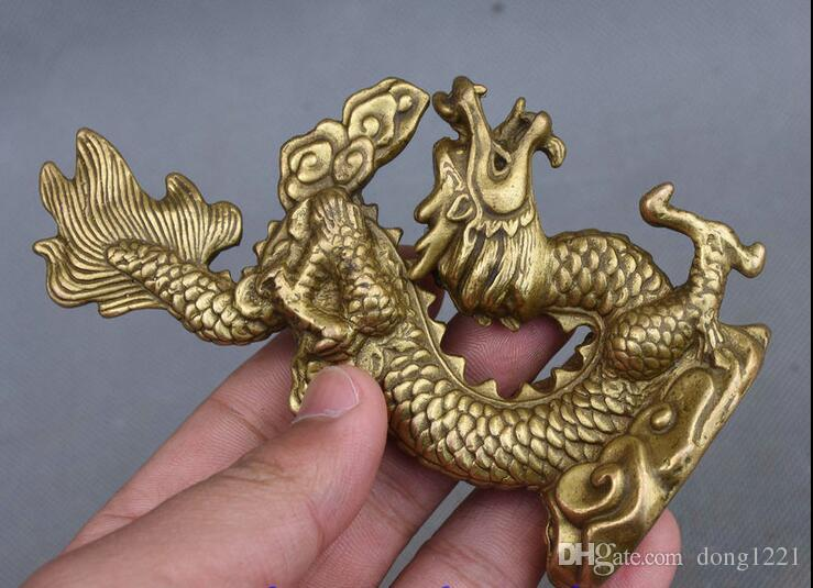 12CM Chinese Folk Feng Shui Pure Copper Brass Year Zodiac Dragon Lucky Statue
