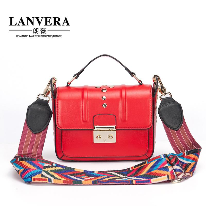 4d7591e1a61 2018 Women Leather Handbags Shoulder Bag New Lock Buckle Rivet Small ...