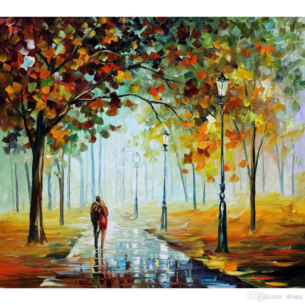 Handmade Colorful Paintings Leonid Afremov Fall Love Modern Art ...