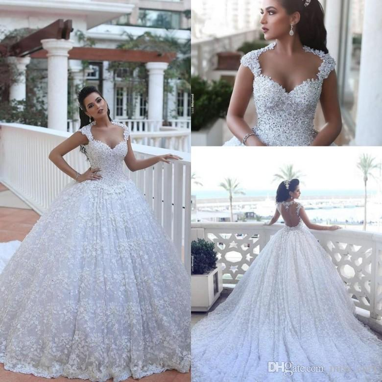 Luxury Said Mhamad Royal Wedding Dresses Ball Gowns Arabic Dubai Vestido De Novia With Beads 3d Floral Flowers Bridal Cathedral Train